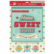 2019 Family Organiser Calendar with Pegs and Pen - Home Sweet Home