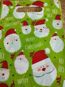 CHRISTMAS SANTA GREEN  loot bags pack of 8 new