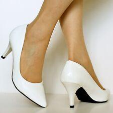 Ladies Women Patent Mid Heel Evening Party Casual Court Shoes Pumps Size-5972
