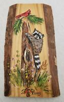 Vintage Wood Carved Raccoon & Cardinal Wall Plaque Hand Painted Folk Art Signed