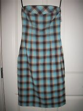 New Windsor Strapless Turquoise/Brown Plaid Dress Size M