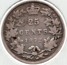 1872 H - Canadian Queen Victoria Silver Quarter - Superfleas  -