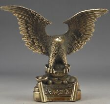 Old Chinese Vintage Brass Handwork Hammered Wealth Succeed Eagle Statue
