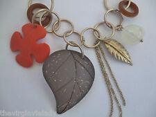 Virgin Vie  'ASPEN LEAF' Chunky Necklace Gold Brown Orange *NEW Gift Idea