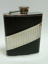JC Flasque à whisky cuir noir/DIAGONALE CHROME - NEUF - 725603