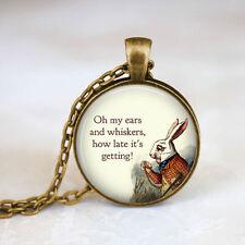 Alice In Wonderland rabbit Cabochon Bronze Glass Chain Pendant Necklace