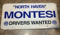 VINTAGE CAR DEALER LICENSE PLATE - NORTH HAVEN CT - MONTESI VOLKSWAGEN - VW