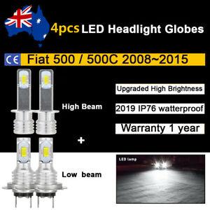 For Fiat 500 500C 2012 2013 2014 4x Headlight Globes High Low beam LED Bulb Kits