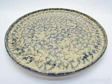 "USA Stoneware Pizza Pan Blue Sponge Ware Pottery VTG RRP 12"" Robinson Ransbottom"