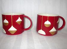 STARBUCKS 2012 14 OZ PAIR SET OF 2 CHRISTMAS HOLIDAY NEW BONE CHINA COFFEE MUGS