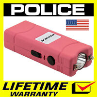POLICE Stun Gun Mini 801 400 Billion Rechargeable LED Flashlight PINK