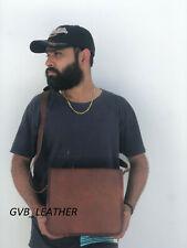"""11"""" Vintage leather messenger Real satchel bag genuine laptop College briefcase"""