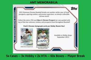 Mike Trout Angels 2021 Bowman Chrome 5X CASE HOBBY + HTA 60X BOX BREAK #3