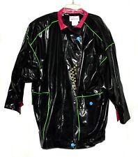 Vintage 1980s Kenn Sporn Wippette Black Multi Color Trim Womens Raincoat Size M