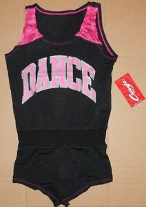 NWT Capezio Black Dance Romper with Mesh Insert Girls Small Style T1011C