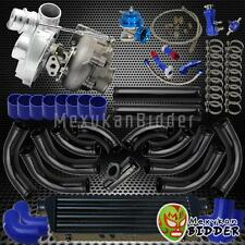 Univerial T3/T4 Turbo Kit V-Band TurboCharger + Blow Off Valve + Couplers Blue