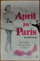 APRIL IN PARIS 1953 ORIG 11X17 UNCUT &  UNFOLDED PRESSBOOK DORIS DAY RAY BOLGER