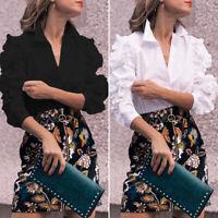 Womens Elegant Formal Office OL Blouse Ladies Victorian Ruffle Long Sleeve Shirt