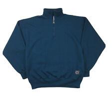 VTG 90s RUSSELL ATHLETIC 1/4-Zip Sweatshirt LARGE Dark Blue Green USA Made