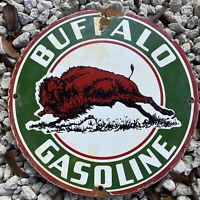 VINTAGE BUFFALO GASOLINE PORCELAIN SIGN US OIL GAS STATION PUMP PLATE PETROLIANA