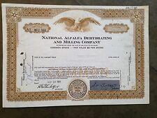 National Alfalfa Dehydrating and Milling Company stock certificate (NEU 966)