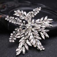 Shine Silver Rhinestone Leaf Hair Clip Bridal Hair Jewelry Barrettes Wedding