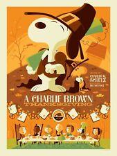 A Charlie Brown Thanksgiving print by Tom Whalen - Dark Hall Mansion - Mondo