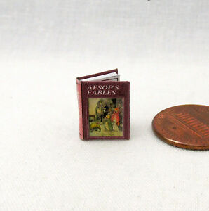 1:24 Scale Book AESOP'S FABLES Miniature Dollhouse Illustrated Book Half Scale