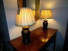 Pair Late 19c Antique Chinese Bronze Vase Lamps Dimmer Switch & Silk Shade c1900