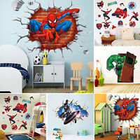 3D Super Heroes Avengers Wall Decal Stickers Mural Funny Kids Bedroom Decor Home