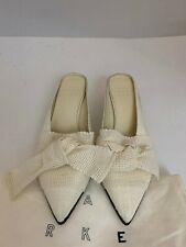 Trademark 8819 Ivory Linen Fabric Bow Tie Mule Sz 37
