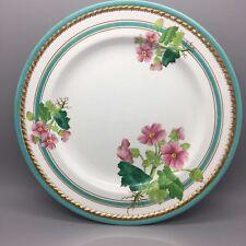 Minton torquoise rim hand painted Antique 1872 Victorian botanical plate C1049.
