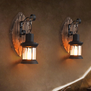 Vintage Wooden Loft Wall Lights Sconce Aisle Coffee Lights Wall Lamp Decor UK