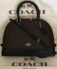 COACH SIERRA SIGNATURE SATCHEL Dome Crossbody bag Brown/Black F37233 NWT