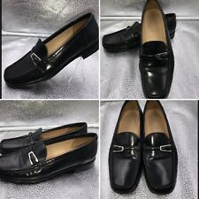 Bally Decade Black Leather Buckle Loafers Size 38 5 Womens