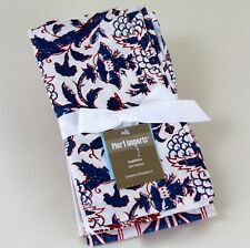 NWT Pier 1 Imports 4 Four Napkins India Block Prints Red White Blue Cotton New