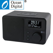 Ocean Digital Wooden FM DAB/DAB+ Radio Tuner Player Clock Snooze With Bluetooth