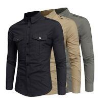 Men's Cotton Slim Lapel Shirts Casual Long Sleeve Button Down Solid Color Top 03