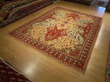 9 x 11.6 Handmade High Quality Afghan Serapi Rug _Veggie Dye Hand Spun Fine Wool