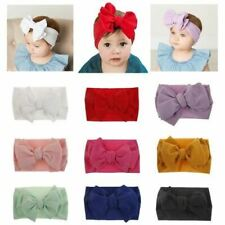 9 PACK Soft Nylon Wide Large Bowknot Knotted Hairbows Headbands Turban Headwrap