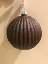 Large Brown Christmas Ornament Balls With Glitter - Set Of 2- New