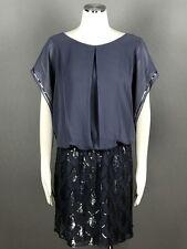 S.L. Fashions Gray Steel Blouson Dress Plus Size 18W Sequined Chiffon $119 NEW