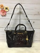 New  BRAHMIN Mini Asher Cocoa Melbourne Leather Satchel Brown Ombre