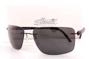 New Silhouette Sunglasses Carbon T1 8722 9040 Black Grey/Gray Polarized Titanium