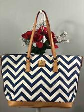 Liked New~DOONEY & BOURKE Chevron Blue & White Zig Zag Leather Shoulder Tote Bag