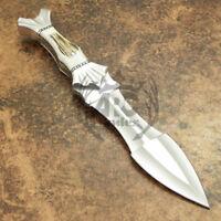 ARC CUSTOM HANDMADE D2 STEEL ANTLER STAG FULL TANG HUNTING DAGGER BOWIE KNIFE