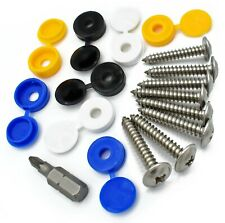 """17 Piece Number Plate Fixing Kit 1"""" Flange Self Tapping Screws & Screw Caps"""
