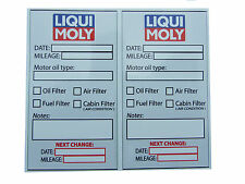Liqui Moly Oil Change Service Reminder PVC Stickers - Set of 10 HQ stickers