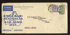MALAYA AUSTRALIA 1931 FLIGHT ILLUSTRATED ENV..GB 3d + 9d CONTROL to MUAR PUNCHOR