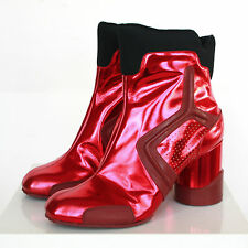 MAISON MARTIN MARGIELA metallic red leather high heel future ankle boots 38 NEW